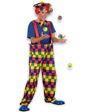 Meerkleurige clownbroek kostuum voor mannen