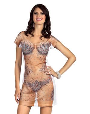 Vestido de brilhantes sobre a pele para mulher