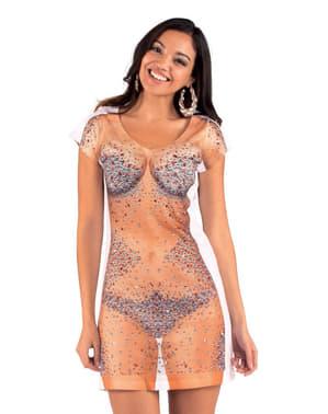 Glanzende strakke jurk voor vrouw