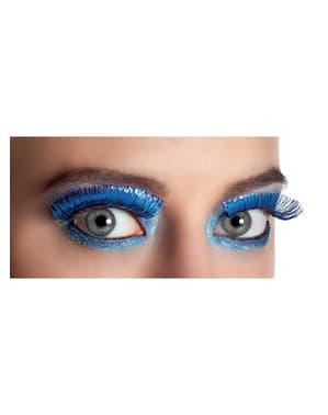 Metallic blauwe wimpers voor vrouw
