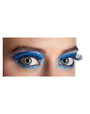 Woman's Metallic Blue Eyelashes