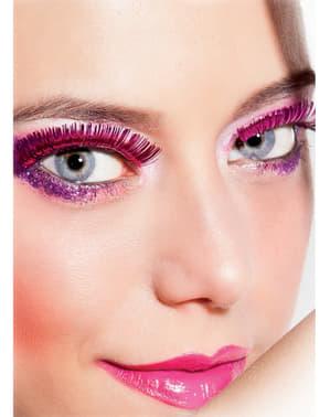 הריסים הוורודים מטאלי של האישה