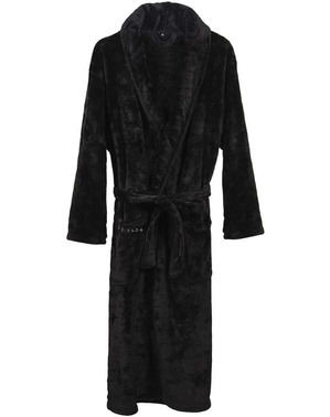 Friends Embroidered Black Dressing Gown for Men