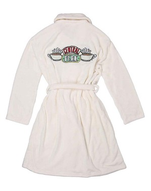 Friends Embroidered White Dressing Gown for Women