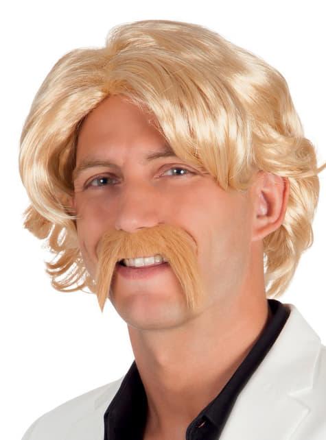 Peluca y bigote rubios para hombre
