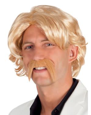 Blonde pruik en snor voor mannen
