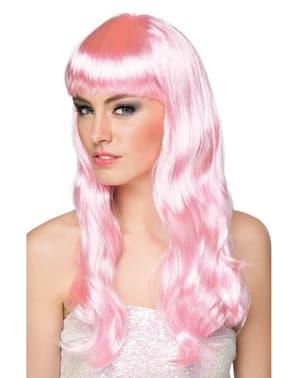Peluca rosa palo con flequillo para mujer