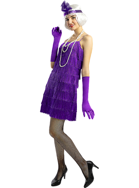 Disfraz de charlestón años 20 violeta
