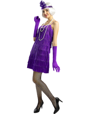 1920-tallet Flapper Kostyme i Fiolett