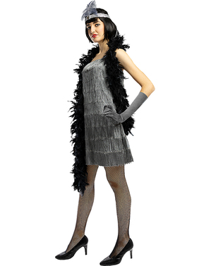 1920-Luvun Flapper-Puku Hopeana