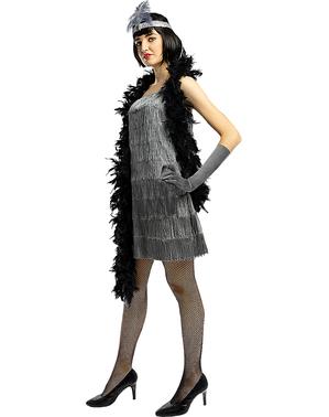 Ezüst flapper kosztüm nőknek
