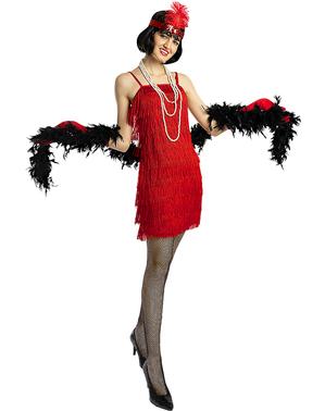 Дамски костюм на флапър момиче в червено