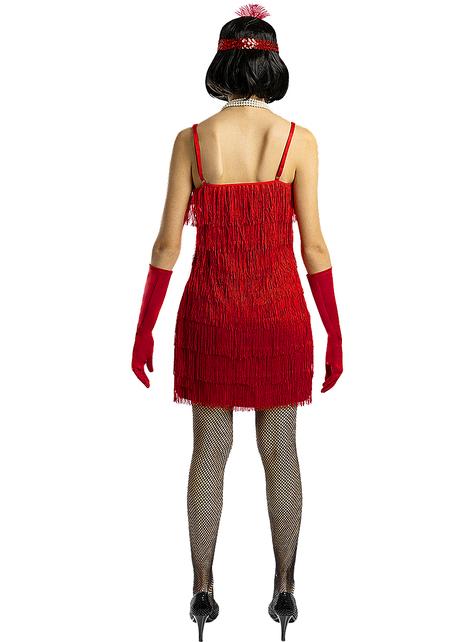 Disfraz de charlestón años 20 rojo