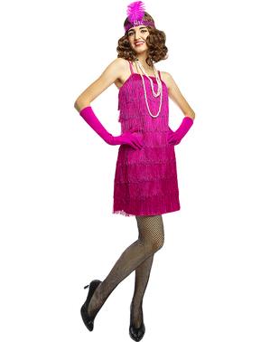 1920-tallet Flapper Kostyme i Rosa