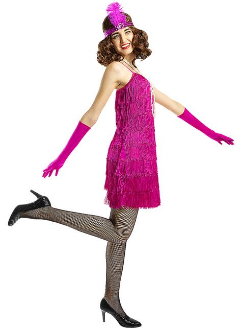 Disfraz de charlestón años 20 rosa