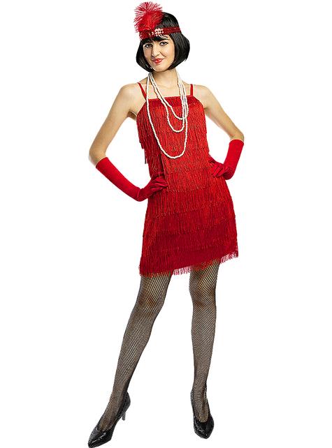 Disfraz de charlestón años 20 rojo talla grande
