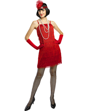 1920s Red Flapper Costume Plus Size