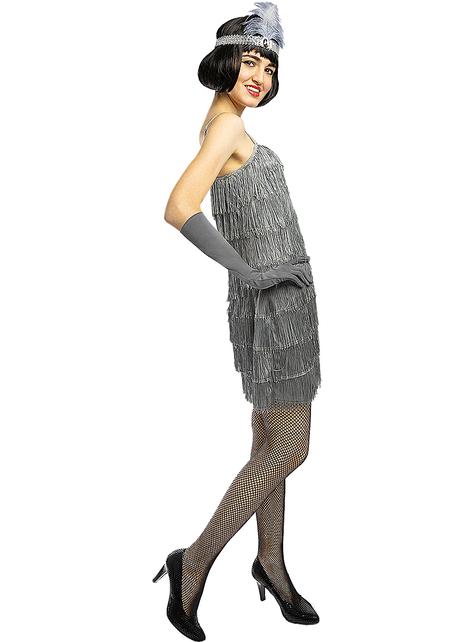 1920s Zilver Flapper kostuum grote maat