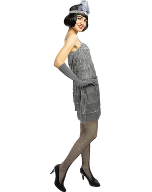 Strieborný kostým charleston pre ženy - veľkosť Plus