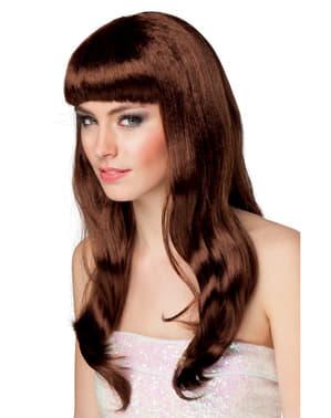 Braune lange Perücke für Damen