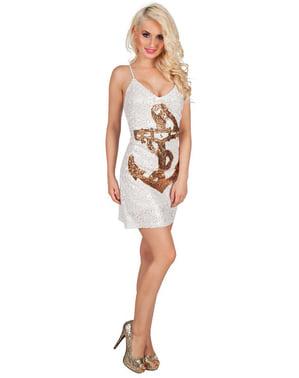 Třpytivé dámské šaty s vzorem kotvy