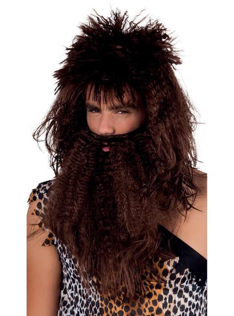 Peluca y barba de cavernícola bruto para hombre