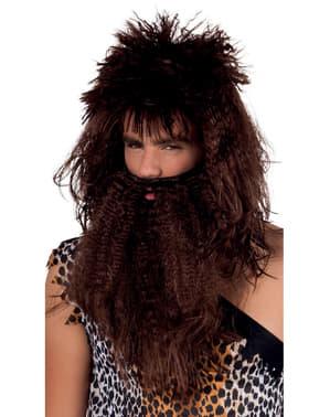 Perruque homme des cavernes avec barbe