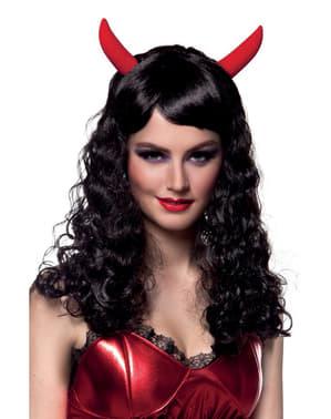 Perruque brune de diable femme