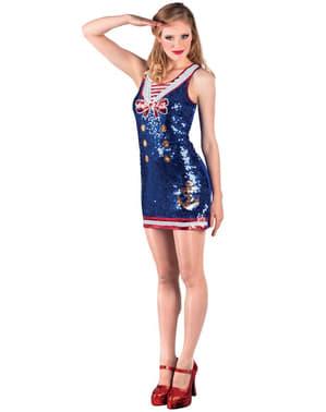 Matrosin Kostüm mit Pailletten für Damen