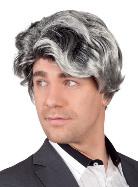 Peluca gris de galán para hombre
