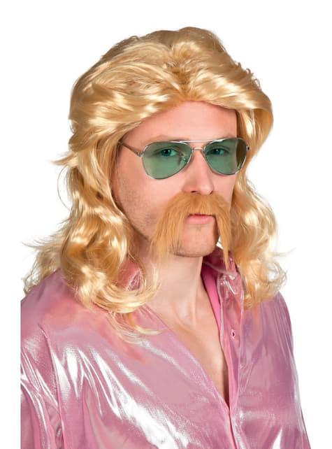 Peluca y bigote rubios de rockero para hombre