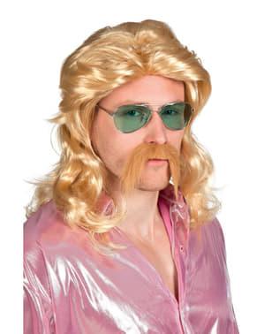 Peruca e bigode loiros de roqueiro para homem