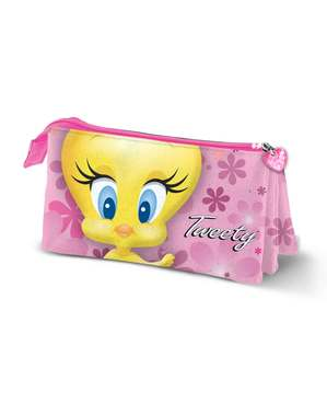Tweety Pink Etui met drie compartimenten voor meisjes - Looney Tunes