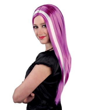 Długa fioletowa jaskrawa peruka damska