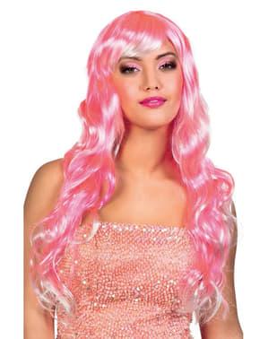 Peruk långt hår rosa med lugg för henne