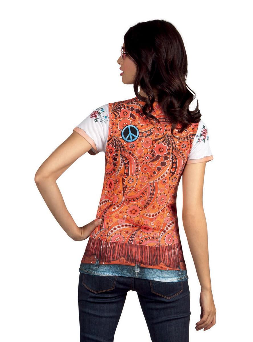 Camiseta de hippie disfraz mujer funidelia for Camisetas hippies caseras