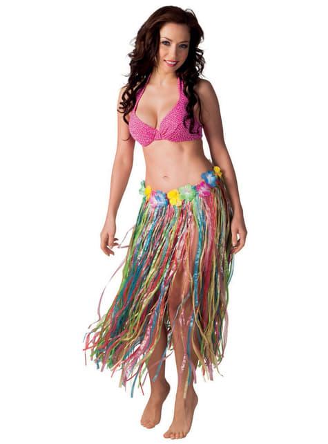 Falda hawaiana multicolor para mujer