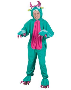 Disfraz de monstruo verde de peluche para niño