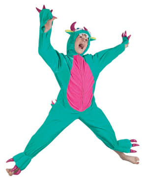 Fato de monstro verde de peluche para menino