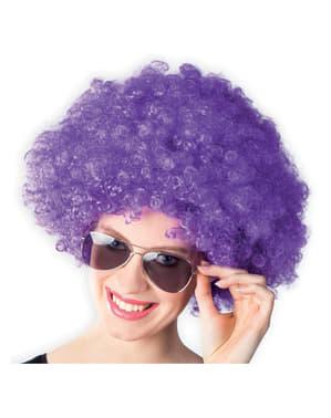 Fioletowa peruka afro disco dla dorosłych