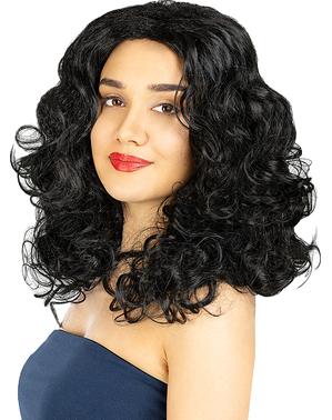 Perruque noire longs cheveux