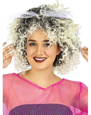 Perucă blondă din anii 80 cu fundă