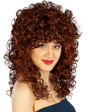 Saloon Girl Brown Curly Wig