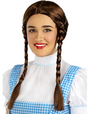 Parrucca con trecce castane per donna