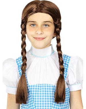 Braune Perücke mit Zöpfen für Mädchen