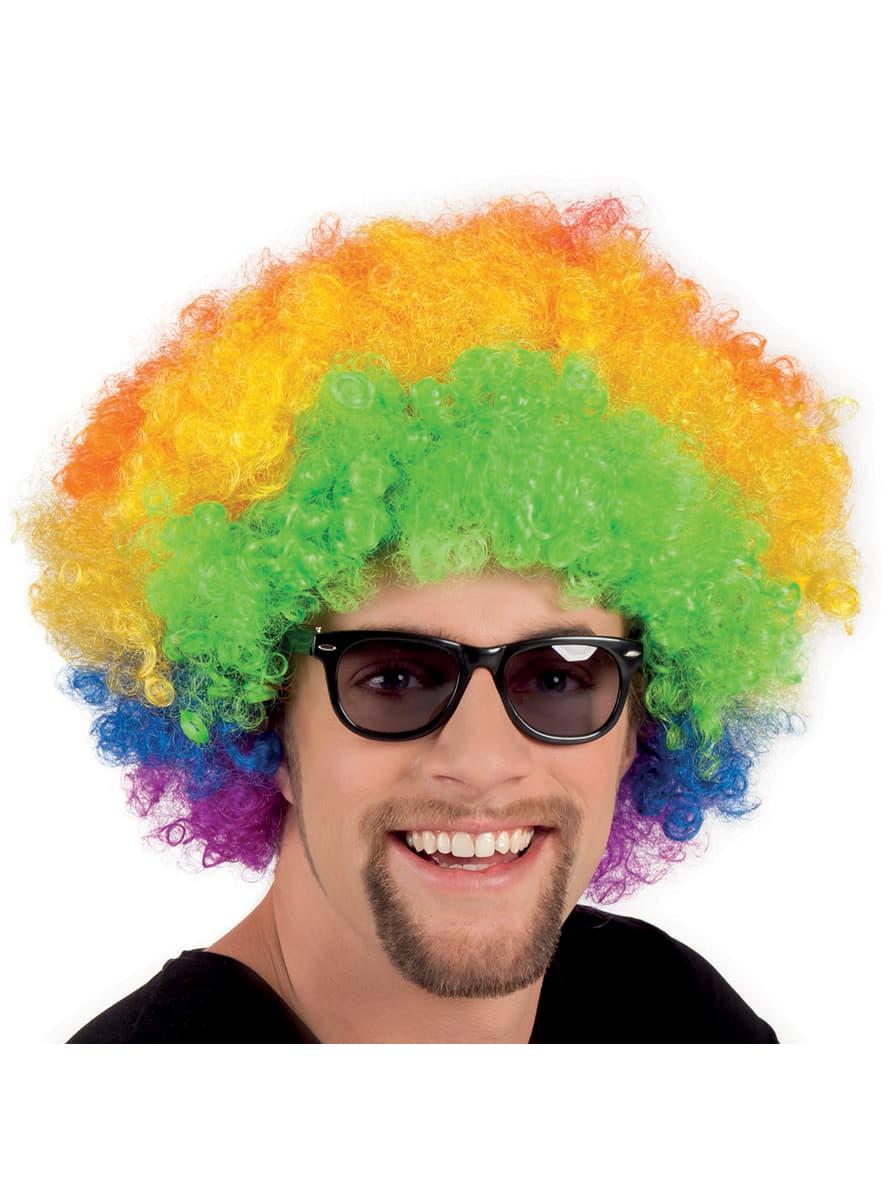 Peluca afro multicolor disco para adulto  comprar online 68ef91d4ee6