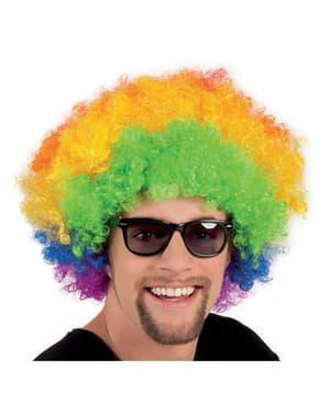 Peruca afro multicolor disco para adulto