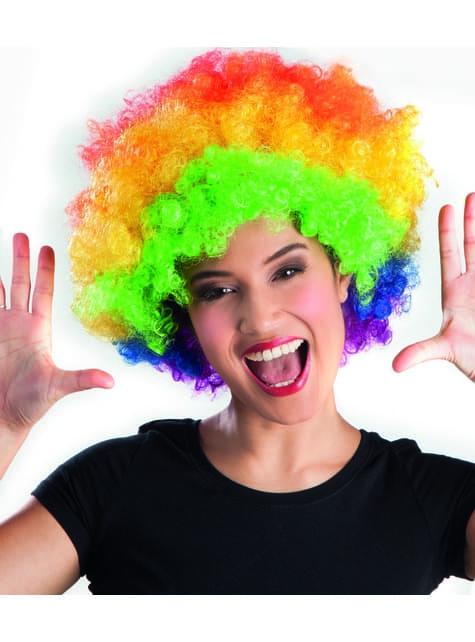 Peluca afro multicolor disco para adulto - para tu disfraz
