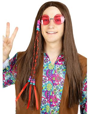 Peluca de hippie morena