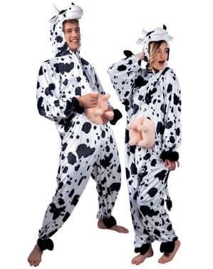 Costum de vacă de pluș pentru adult